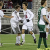 Brad Davis/The Register-Herald<br /> Woodrow Wilson midfielder Keegan Rose (#18) celebrates a second half, one-touch goal off a direct kick from teammate Brandon Chandler Thursday night at the YMCA Paul Cline Memorial Sports Complex.