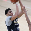 Brad Davis/The Register-Herald<br /> Forward/center Anthony Davis pulls up for a jump shot during New Orleans Pelicans training camp Wednesday afternoon in White Sulphur Springs.