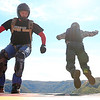 Chris Jackson/The Register-Herald<br /> Two BASE jumpers jump off the exit point during the annual Bridge Day event in Fayetteville on Saturday.