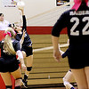 Chris Jackson/The Register-Herald<br /> Liberty's Kaitlyn Hatley (16) hits the ball over the net during their match against Independence.