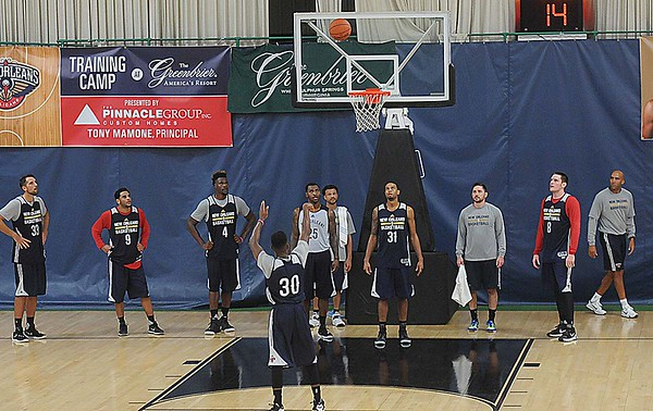 Rick Barbero/The Register-Herald<br /> New Orleans Pelicans training camp held at The Greenbrier Resort in White Sulphur Springs Tuesday afternoon.