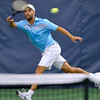 Brad Davis/The Register-Herald<br /> Former pro James Blake competes against legend Pete Sampras at the Greenbrier Champions Tennis Classic Sunday afternoon in White Sulphur Springs.