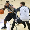 Brad Davis/The Register-Herald<br /> Guard Sean Kilpatrick, left, tries to drive around forward Luke Babbitt during New Orleans Pelicans training camp Wednesday afternoon in White Sulphur Springs.