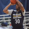 Rick Barbero/The Register-Herald<br /> Norris Cole shooting foul shots during the New Orleans Pelicans training camp held at The Greenbrier Resort in White Sulphur Springs Tuesday afternoon.