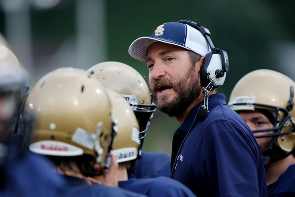 Chris Jackson/The Register-Herald<br /> Shady Spring's coach Vince Culicerto speaks to his team as they  hosted Logan on Friday, in Shady Spring.