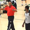 Rick Barbero/The Register-Herald<br /> Pelicans head coach Alvin Gentry, left, gives some instructions to Sean Kilpatrick during the New Orleans Pelicans basketball team practice during training camp held at The Greenbrier Resort in White Sulphur Springs Tuesday afternoon.