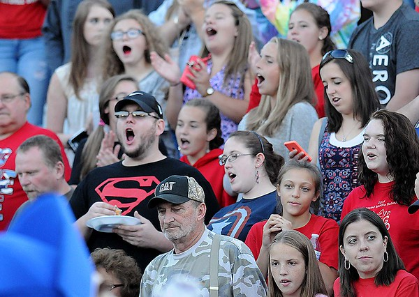 Rick Barbero/The Register-Herald<br /> Midland Trail fans during game against Meadow Bridge Friday night at Midland Trail High School in Hico.