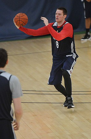 Rick Barbero/The Register-Herald<br /> Luke Babbitt catches a pass during the New Orleans Pelicans training camp held at The Greenbrier Resort in White Sulphur Springs Tuesday afternoon.