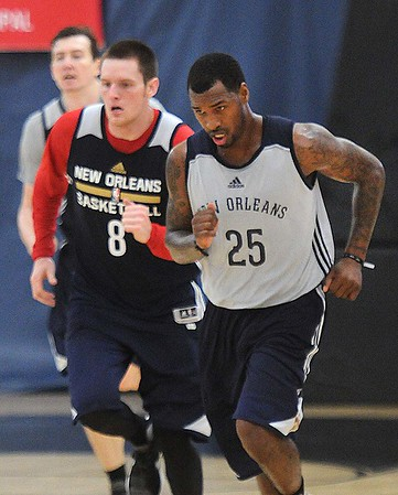 Rick Barbero/The Register-Herald<br /> Luke Babbitt, left, and Sean Kilpatrick running drills during the New Orleans Pelicans training camp held at The Greenbrier Resort in White Sulphur Springs Tuesday afternoon.