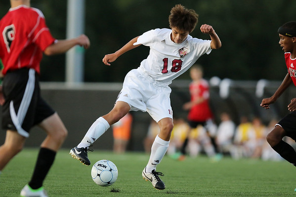 Chris Jackson/The Register-Herald<br /> Woodrow Wilson's Keegan Rose (18) dribbles the ball during their soccer game against Nitro at Paul Cline Stadium in Beckley on Tuesday.
