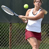 (Brad Davis/The Register-Herald) Woodrow Wilson's Lily Peterson plays in a doubles match against Bluefield Wednesday afternoon in Beckley.