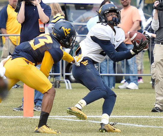(Brad Davis/The Register-Herald) West Virginia receiver Marcus Simms, right, hauls in a deep touchdown pass after beating cornerback Jordan Adams during the Mountaineers' Gold-Blue Spring football game Saturday afternoon at The Greenbrier.