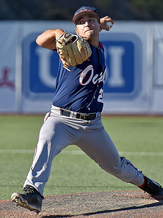 (Brad Davis/The Register-Herald) Florida Atlantic starting pitcher Brandon Rhodes delivers against Marshall Saturday afternoon at Linda K. Epling Stadium.