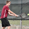 (Brad Davis/The Register-Herald) Bluefield's Mark Clapp plays in a doubles match against Woodrow Wilson Wednesday afternoon in Beckley.