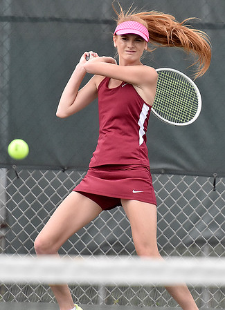 (Brad Davis/The Register-Herald) Bluefield's Zoey Nicewonder plays in a doubles match against Woodrow Wilson Wednesday afternoon in Beckley.