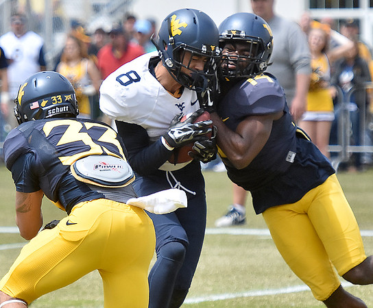 (Brad Davis/The Register-Herald) West Virginia receiver Marcus Simms, middle, takes a hit after making a catch during the Mountaineers' Gold-Blue Spring football game Saturday afternoon at The Greenbrier.
