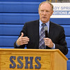 (Brad Davis/The Register-Herald) David Sneed, Executive Director of the School Building Authority of West Virginia, speaks following the announcement of an upcoming round of renovations and upgrades to Shady Spring High School during an assembly in the school's gymnasium Wednesday afternoon.