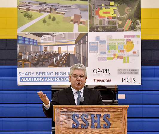 (Brad Davis/The Register-Herald) David Price, Superintendent of Raleigh County Schools, announces an upcoming round of renovations and upgrades to Shady Spring High School during an assembly in the school's gymnasium Wednesday afternoon.