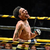 (Brad Davis/The Register-Herald) Beckley's Juwan Rowe reacts after defeating Cody Null in Original Toughman's first ever MMA bout Saturday at the Beckley-Raleigh County Convention Center.