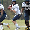 (Brad Davis/The Register-Herald) West Virginia quarterback Skyler Howard drops back to pass during the Mountaineers' Gold-Blue Spring football game Saturday afternoon at The Greenbrier.
