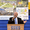 (Brad Davis/The Register-Herald) Richard Snuffer, President of the Raleigh County Board of Education, announces an upcoming round of renovations and upgrades to Shady Spring High School during an assembly in the school's gymnasium Wednesday afternoon.