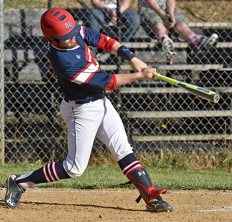 (Brad Davis/The Register-Herald) Independence's Ryan Brandstetter blasts a first inning, three-run homer during the Patriots' win over Liberty Friday evening in Glen Daniel.