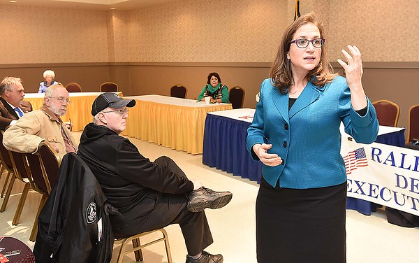 Secretary of State Natalie Tennant, spoke during the Raleigh County Democrat Convention held at the Beckley-Raleigh County Convention Center Saturday afternoon. Delegates were divided into three magisterial districts during the convention.<br /> (Rick Barbero/The Register-Herald)