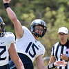 (Brad Davis/The Register-Herald) West Virginia quarterback David Sills throws a pass during the Mountaineers' Gold-Blue Spring football game Saturday afternoon at The Greenbrier.