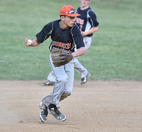 (Brad Davis/The Register-Herald) Summers County shortstop Samuel Wykle fields a ground ball against Independence Wednesday evening in Hinton.