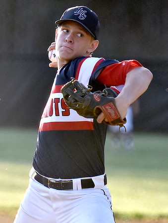 (Brad Davis/The Register-Herald) Independence starting pitcher Logan Stump delivers during the Patriots' win over Liberty Friday evening in Glen Daniel.