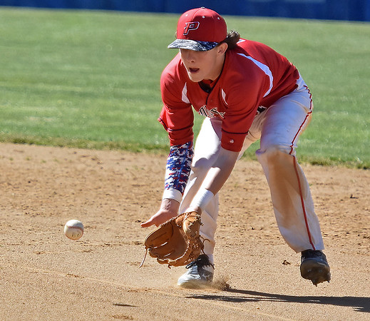 (Brad Davis/The Register-Herald) Independence second baseman Fisher Horton fields a ground ball during the Patriots' win over Shady Spring Saturday afternoon in Coal City.