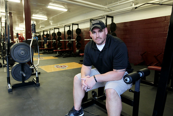 Doug Legursky in the newly renovated athletic complex at Van Meter Stadium at Woodrow Wilson High School in Beckley. (Chris Jackson/The Register-Herald)