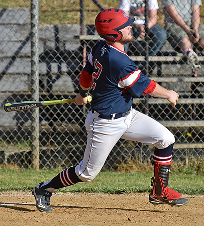 (Brad Davis/The Register-Herald) Independence's Ryan Brandstetter watches the ball sail over the left field fence after blasting a first inning, three-run homer during the Patriots' win over Liberty Friday evening in Glen Daniel.