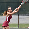 (Brad Davis/The Register-Herald) Bluefield's Carol-Anne Cole plays in a doubles match against Woodrow Wilson Wednesday afternoon in Beckley.