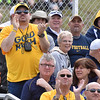 (Brad Davis/The Register-Herald) West Virginia fans react during the Mountaineers' Gold-Blue Spring football game Saturday afternoon at The Greenbrier.