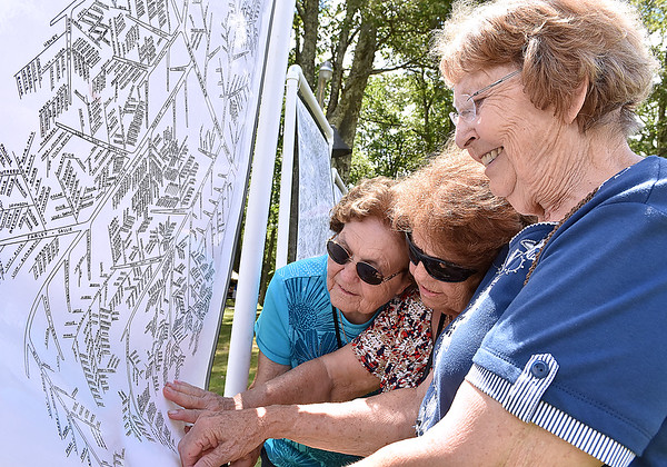 (Brad Davis/The Register-Herald) Pipestem residents (from right) Janet Lilly, Edith Lilly-Weatherford and Evelyn Lilly-Currence search for family members past and present on one of the many family tree charts on display at the 87th annual Lilly Family Reunion Saturday afternoon on the family's grounds in Mercer County.