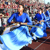 Woodrow Wilson color guard performing during game against Riverside High School at Van Meter Stadium in Beckley Friday night.<br /> (Rick Barbero/The Register-Herald)