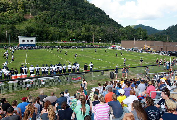 Clay-Battelle kickoff to Valley during there season opener at the new football field in Smithers on Friday. (Chris Jackson/The Register-Herald)