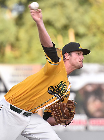 (Brad Davis/The Register-Herald) West Virginia starting pitcher Austin Goss delivers during the Miners' win over the Quincy Gems in game one of the Prospect League championship series Thurday night at Linda K. Epling Stadium.
