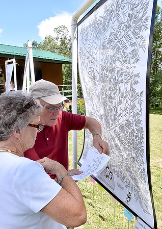 (Brad Davis/The Register-Herald) Dolores Lilly-Orange gets some help tracking down a distant relative from David Meadows, whose mother was a Lilly and her mother as well, as they check the Robert Lilly (1696-1810)/Mary Fanny Moody (1696-1807) tree at the 87th annual Lilly Family Reunion Saturday afternoon on the family's grounds in Mercer County.