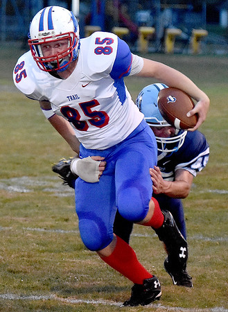 (Brad Davis/The Register-Herald) Midland Trail receiver Matthew Skaggs Friday night at Meadow Bridge.