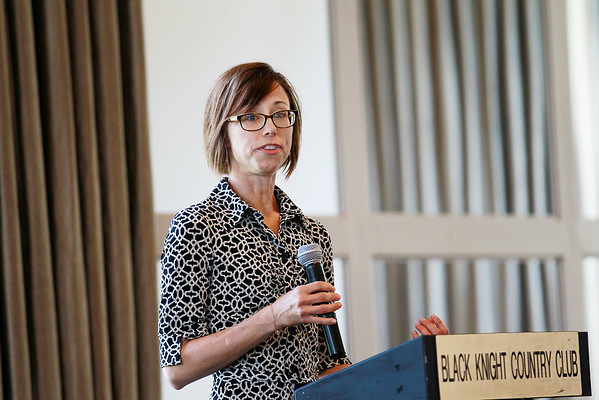 WV Dance Co. Board President Kelly Whitfield speaks to the Beckley Rotary Tuesday at the Black Knight Country Club. (Chris Jackson/The Register-Herald)