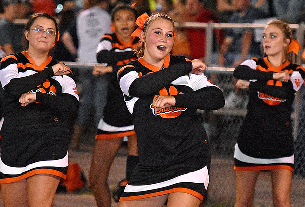 (Brad Davis/The Register-Herald) Summers County cheerleaders perform during the Bobcats home game against Shady Spring Friday night in Hinton.
