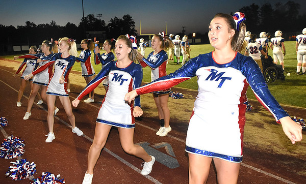 Midland Trail cheerleader during game at Independence High School in Coal City Friday night.<br /> (Rick Barbero/The Register-Herald)