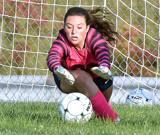 (Brad Davis/The Register-Herald) Shady Spring's KEEPER #00 makes a diving save during the Tigers' game against the Spartans Thursday night at the YMCA Paul Cline Memorial Sports Complex.