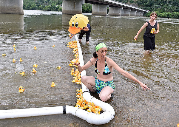 (Brad Davis/The Register-Herald) Race official Susie Farmer, below, calls out the top-finishing ducky numbers to scorekeepers nearby as they reach her while duck wranglers Carol Jackson (duck umbrella) and Lani Emrich, right, corral stragglers and near escapees during another chapter in Hinton's Great Rubber Ducky Race Sunday afternoon next to the Veterans Memorial Bridge.