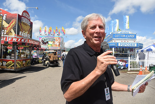 Paul Rose, announcer for the West Virginia State Fair in Fairlea.<br /> (Rick Barbero/The Register-Herald)