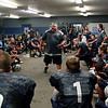 "Valley High Football's head coach Makie McCommack talks to his team prior to their season opener against Clay-Battelle at their new football field in Smithers on Friday. McCommack told his team that they finally have a home now, and that ""we've got to protect it."" (Chris Jackson/The Register-Herald)"