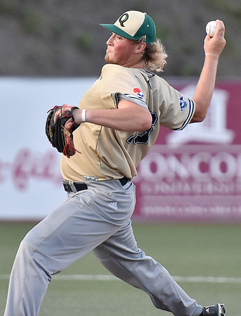 (Brad Davis/The Register-Herald) Quicy's Colan Borchers delivers during game one of the Prospect League championship series Thursday night at Linda K. Epling Stadium in Beckley.