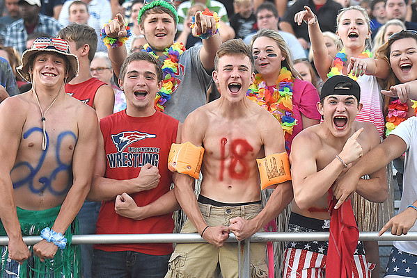 Independence student section showing their support during game against Midland Trail at Independence High School in Coal City Friday night.<br /> (Rick Barbero/The Register-Herald)